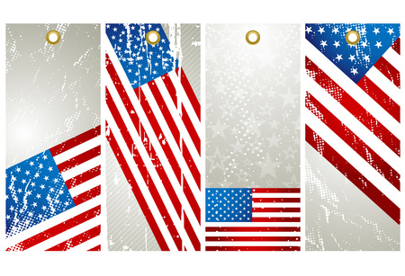 four  labels with elements of usa banner, vector illustration Stock Vector - 4425672