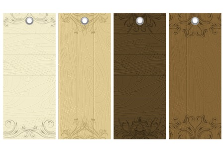 five wooden labels with decorative elements, vector illustration Vector