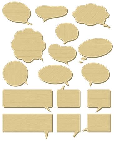 sixteen wooden  labels , vector illustration Stock Vector - 4425673