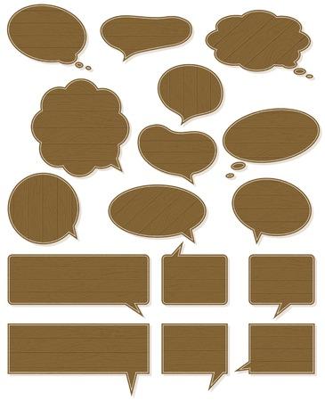 sixteen wooden  labels , vector illustration Vector