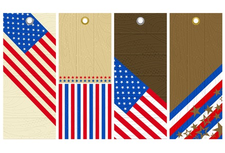 four  wooden labels with elements of usa banner, vector illustration Vector