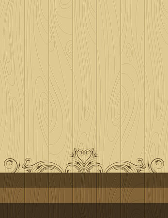 wooden background with   decorative ornaments Vector
