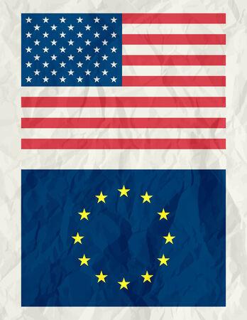 usa and euro flag ,vector illustration Vector