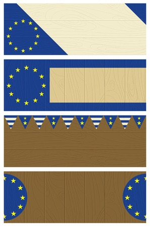 eu: four  wooden banners with elements of eu banner, vector illustration Illustration