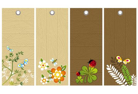 five wooden labels with floral elements, vector illustration Illustration