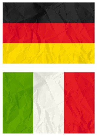 crumple: German and Italy flags, vector illustration