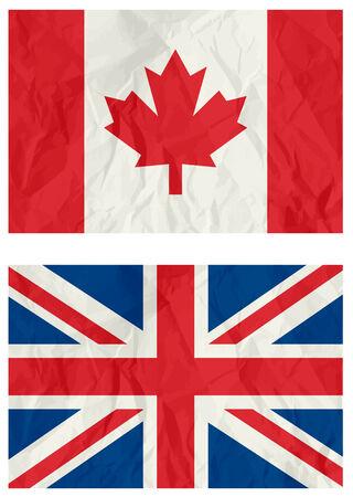 scrunch: United Kingdom and Canadian flag,vector illustration Illustration