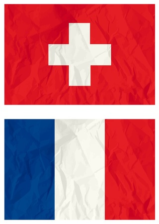 Switzerland and French flags, vector illustration Vector