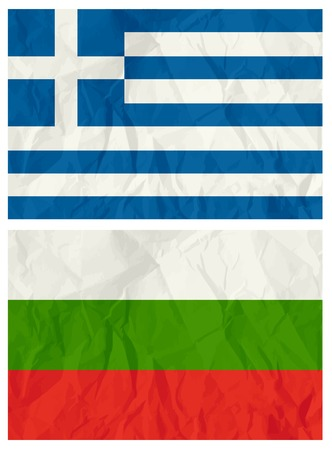 crumple: Greece and Bulgaria flags, vector illustration