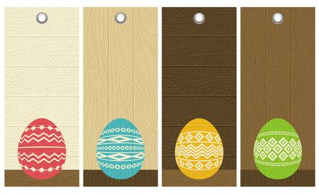 four color easter eggs over wooden labels, vector illustration Vector
