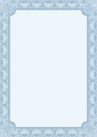 certificates: blue background with decorative ornate, vector illustration Illustration