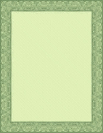 charter: green certificate background, vector Illustration