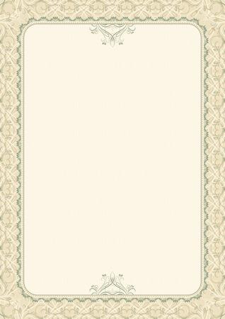 oorkonde: beige achtergrond met decoratieve sierlijke, vector illustration