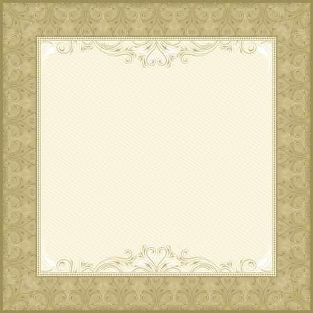 oorkonde: plein beige achtergrond met decoratieve ornate, vector illustration Stock Illustratie