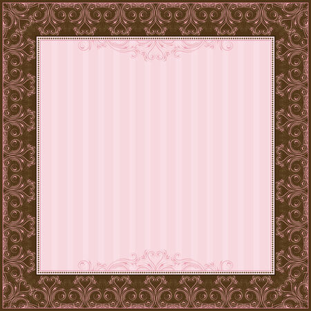 old square: square pink background with decorative ornate, vector illustration