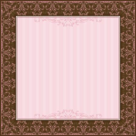 oorkonde: vierkant roze achtergrond met decoratieve ornate, vector illustration