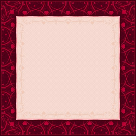 square red background with decorative ornaments, vector illustration Vector