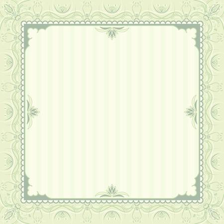 oorkonde: plein groene achtergrond met decoratieve ornate, vector illustration