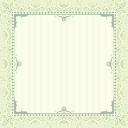charter: square green background with decorative ornate, vector illustration
