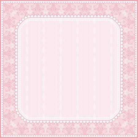 ornaments vector: piazza sfondo rosa con ornamenti decorativi, illustrazione vettoriale