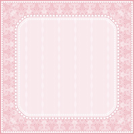 square pink background with decorative ornaments, vector illustration Vector