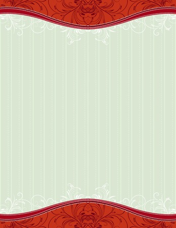 red background with decorative ornaments and hearts, vector illustration Vector