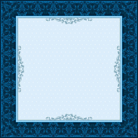 square blue background with decorative ornate, vector illustration Vector