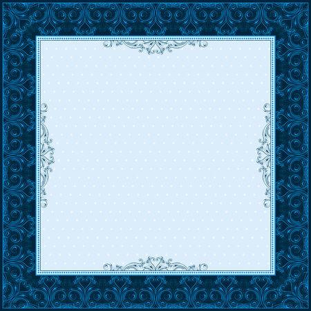 oorkonde: vierkante blauwe achtergrond met decoratieve ornate, vector illustration