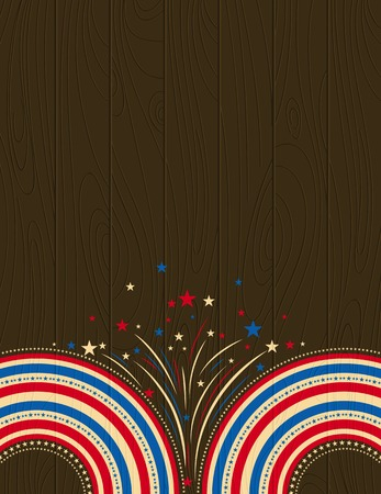 wooden usa background with stars, vector illustration Vector