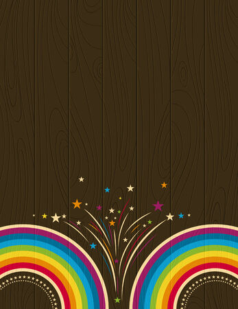 wooden background with  rainbow, vector illustration Vector