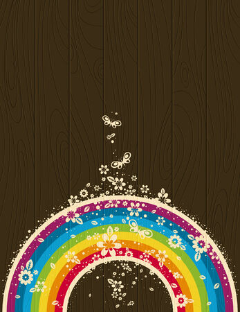 wooden background with  rainbow and flowers Vector