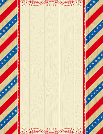 wooden usa background with stars and  decorative frames Vector
