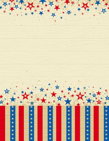 fourth of july: Stati Uniti d'America in legno con sfondo stelle, illustrazione vettoriale Vettoriali