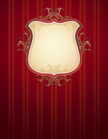 oorkonde: rode klassieke achtergrond, vector illustration