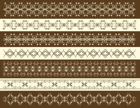 seven decorative lines, vector Vector