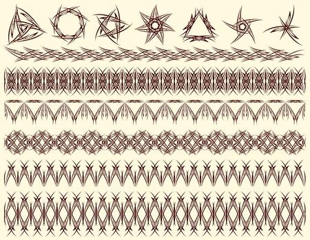six decorative lines and seven decorative elements, vector Vector