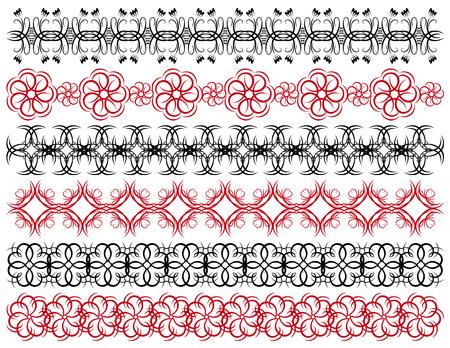 six decorative lines,  vector Vector