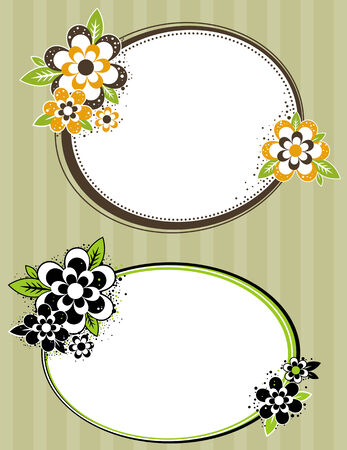 round frame with flowers on striped background, vector illustration Vector