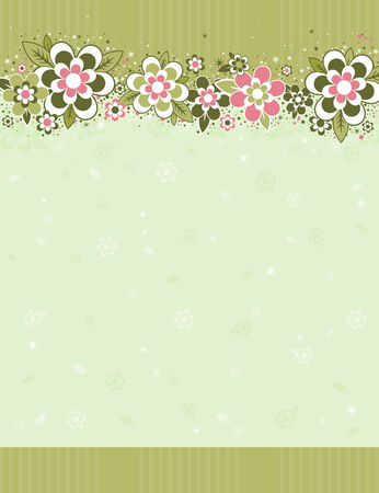frame with flowers on striped background Vector