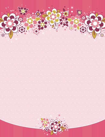 scrapbooking elements:  frame with flowers on background with dots, vector illustration Illustration