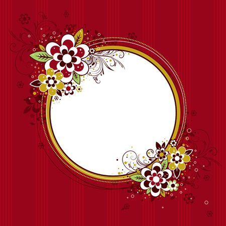 fancy design: circle  frame with flowers on red background