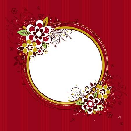 fancy border: marco c�rculo con flores en fondo rojo Vectores