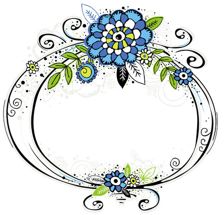 hand draw frame with flowers on white  background