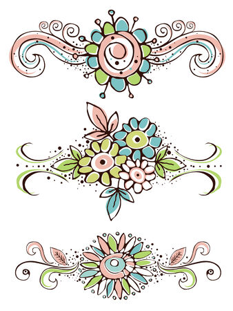 vector flowers: decorative ornaments with hand draw  flowers , vector illustration