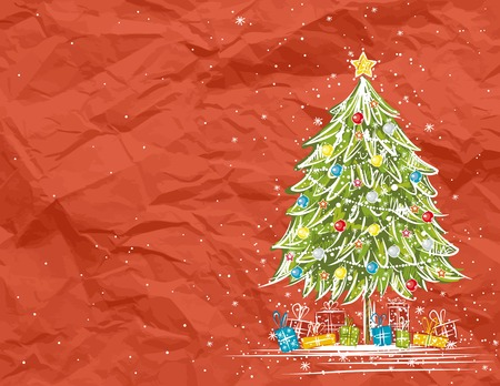 crumple: christmas tree  over  red crumple background, vector illustration Illustration