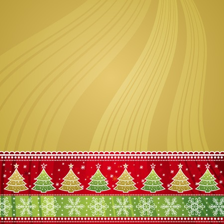 tree trimming: christmas background, vector illustration