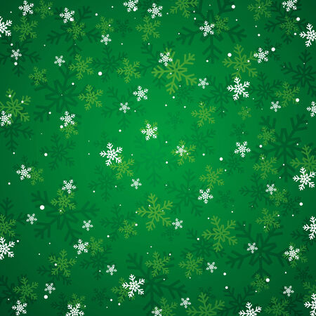 flakes: green christmas background, vector illustration Illustration