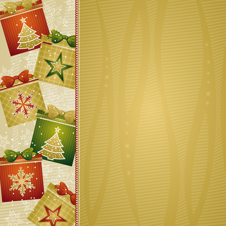 christmas background with gifts, vector illustration Vector