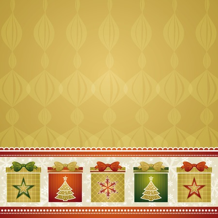 tree trimming: christmas background with gifts, vector illustration Illustration