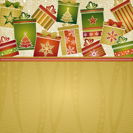 lustre: christmas background with gifts, vector illustration Illustration